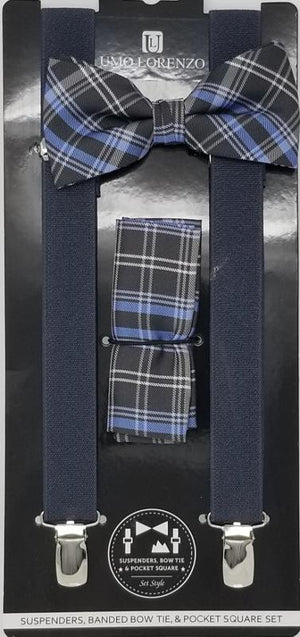 UMO LORENZO SUSPENDERS, BOW TIE, & POCKET SQUARE SET Suspenders, Bow Tie, Pocket Square Set GS4LESS Black-Grey Plaid