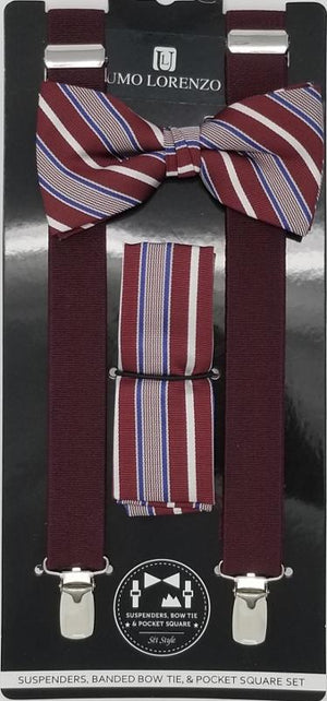 UMO LORENZO SUSPENDERS, BOW TIE, & POCKET SQUARE SET Suspenders, Bow Tie, Pocket Square Set GS4LESS Burgundy-Blue-Grey