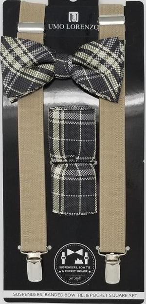 UMO LORENZO SUSPENDERS, BOW TIE, & POCKET SQUARE SET Suspenders, Bow Tie, Pocket Square Set GS4LESS Grey-Black-Grey Plaid