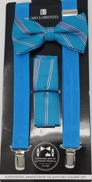 UMO LORENZO SUSPENDERS, BOW TIE, & POCKET SQUARE SET Suspenders, Bow Tie, Pocket Square Set GS4LESS Turquoise-Burgandy