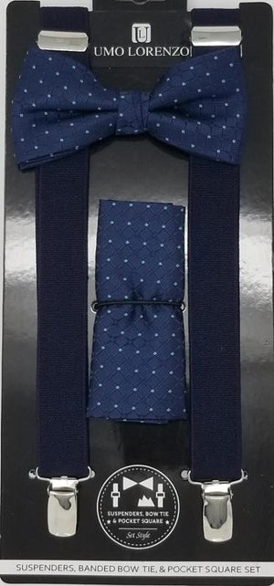 UMO LORENZO SUSPENDERS, BOW TIE, & POCKET SQUARE SET Suspenders, Bow Tie, Pocket Square Set GS4LESS Navy Blue-Light Blue