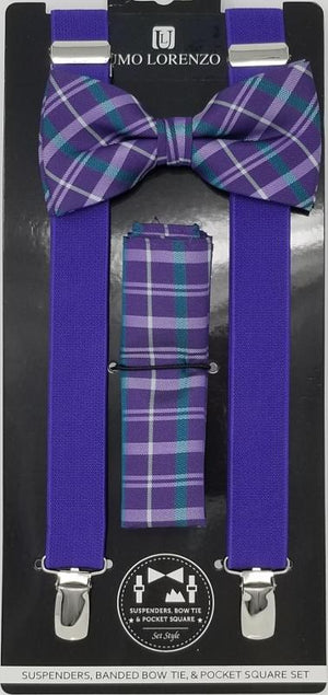UMO LORENZO SUSPENDERS, BOW TIE, & POCKET SQUARE SET Suspenders, Bow Tie, Pocket Square Set GS4LESS Purple-Green Purple Plaid