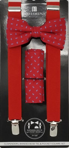 UMO LORENZO SUSPENDERS, BOW TIE, & POCKET SQUARE SET Suspenders, Bow Tie, Pocket Square Set GS4LESS Red-Blue