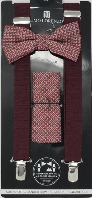 UMO LORENZO SUSPENDERS, BOW TIE, & POCKET SQUARE SET Suspenders, Bow Tie, Pocket Square Set GS4LESS Burgundy-Grey