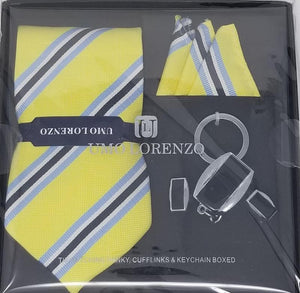 UMO LORENZO TIE, POCKET SQUARE, CUFFLINKS, & KEY CHAIN BOX SET Tie, Hanky, Cufflinks, Keychain Sets GS4Less Yellow-Blue-White-Stripes