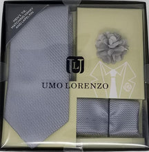 UMO LORENZO TIE, POCKET SQUARE, & LAPEL PIN SET