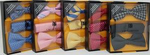 UMO LORENZO TWO PRE-TIED BOW TIES & POCKET SQAURE Bow Tie Sets GS4Less