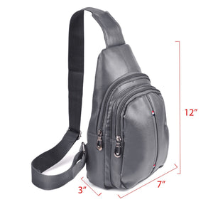 Westend Charcoal Crossbody Leather Sling Bag Backpack with Adjustable Strap