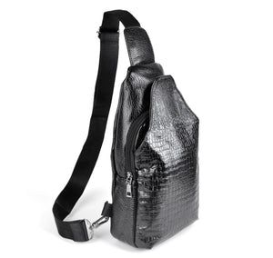 Westend Leather Crocodile Embossed Pattern Black Crossbody Sling Bag