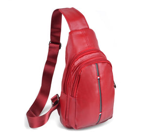 Westend Red Crossbody Leather Sling Bag Backpack with Adjustable Strap