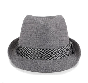 Westend Spring/Summer Textured Pattern Fashion Trilby Fedora with Black Diamond