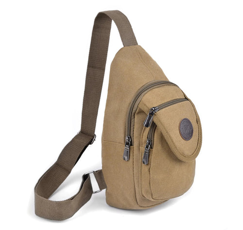 Westend Tan Crossbody Canvas Sling Bag Backpack with Adjustable Strap