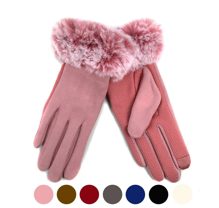 Nollia Women's Faux-Fur Cuff touch Screen Gloves with Non Slip Grip
