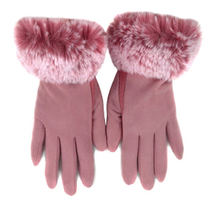 Nollia Women's Faux-Fur Cuff touch Screen Gloves with Non Slip Grip Women's Gloves Nollia L/XL Pink