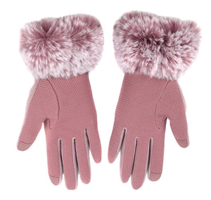 Nollia Women's Faux-Fur Cuff touch Screen Gloves with Non Slip Grip Women's Gloves Nollia S/M Pink
