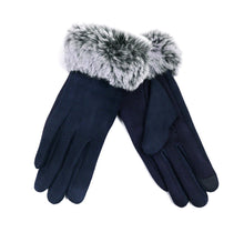 Nollia Women's Faux-Fur Cuff touch Screen Gloves with Non Slip Grip Women's Gloves Nollia S/M Navy