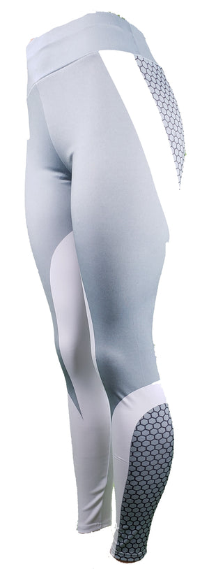 GS4LESS Women's Gray Honeycomb Three Pattern Leggings