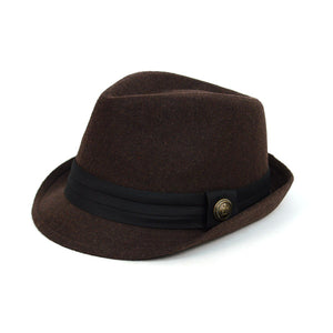 Fedora Hat with Band Trim and Button Men's Hat GS4Less Large/Extra Large Brown 35%Cotton/65%Polyester