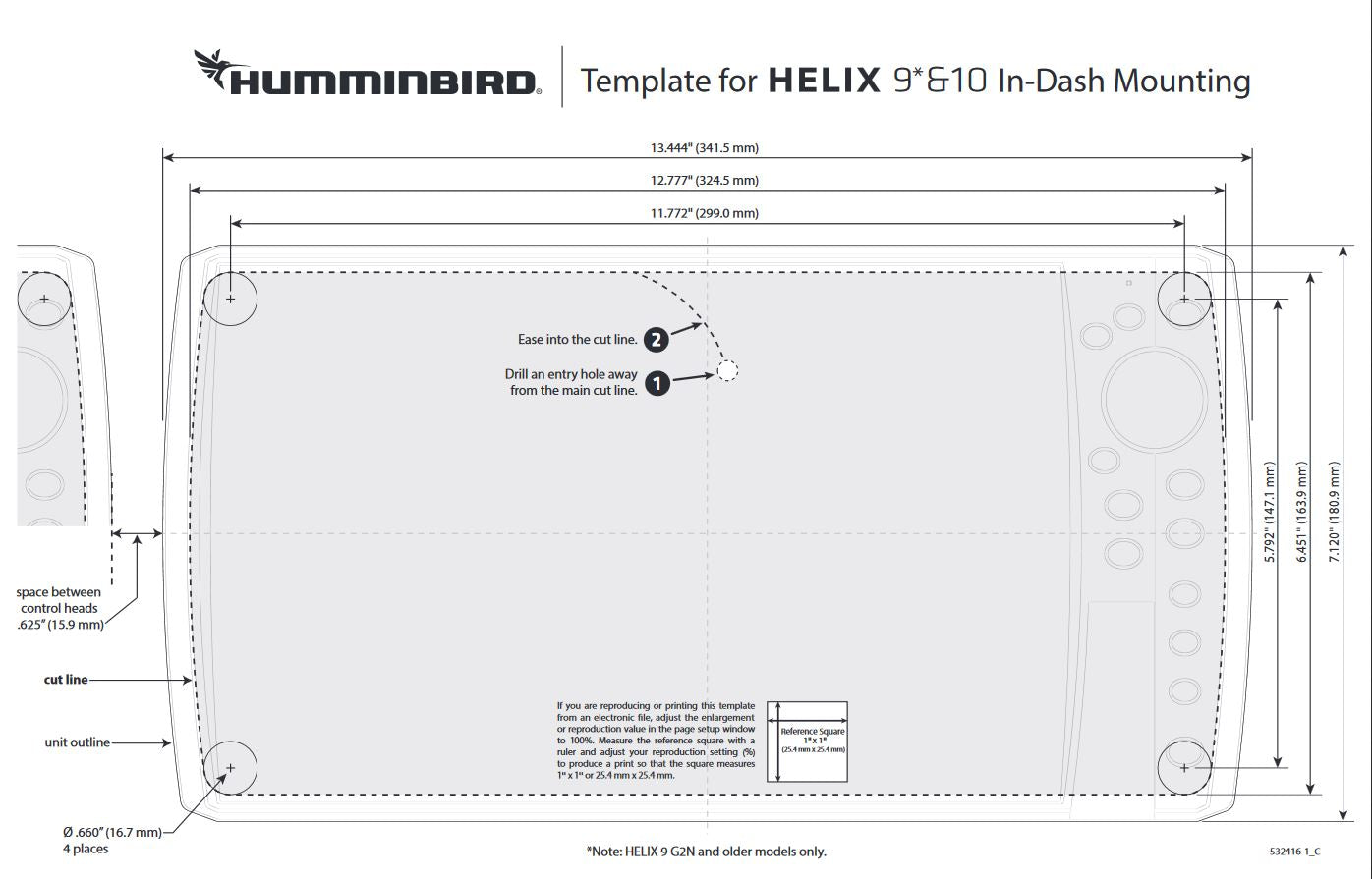 In dash mounting template for humminbird Helix 10 when flush mounting it. Shows the size of the hole to cut.