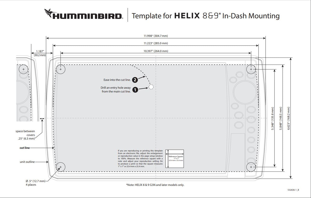 Helix 8 G3N and Helix 9 G3 flush mount template and dimensions for in dash mounting