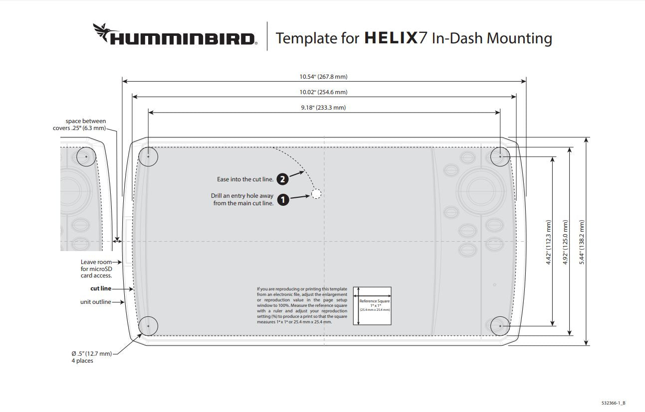 Helix 7 in dash mounting dimensions and template for flush mount. Also gives unit dimensions