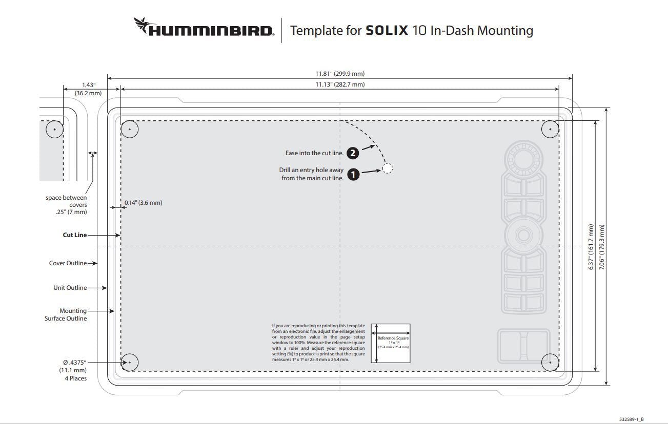 "Solix 10 template for flush mount, shows what size hole to cut along with solix 10"" dimensions"