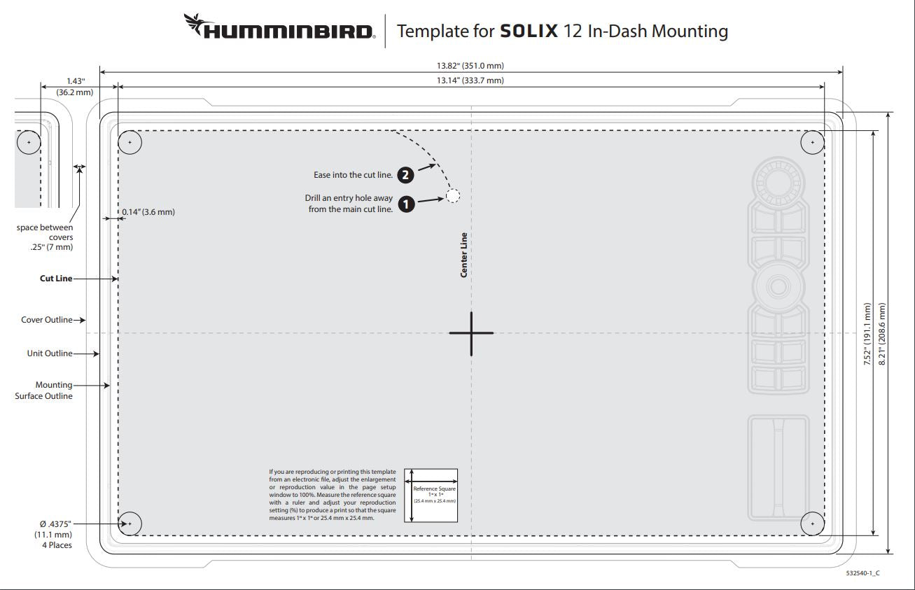 Humminbird Solix Flush mount template and dimensions for the correct size hole to cut when installing in a dash.