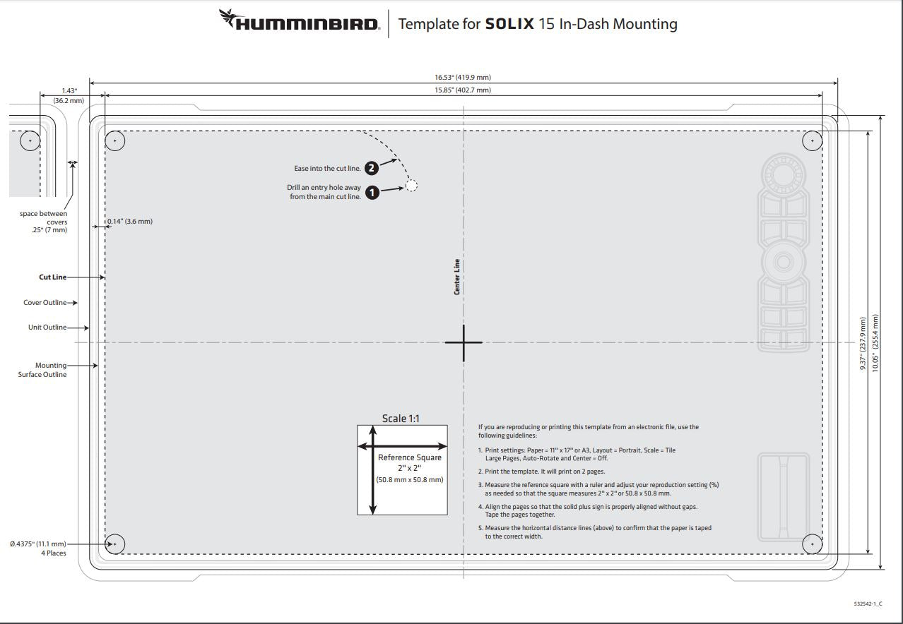 Solix 15 flush mount template and dimensions