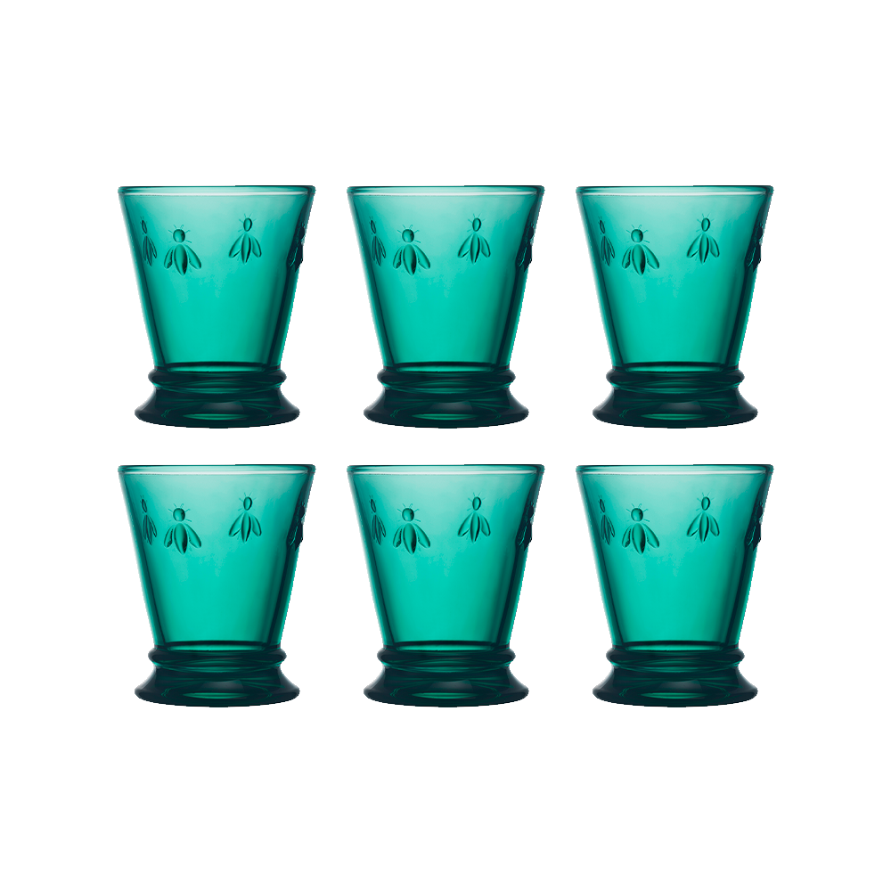 Set 6 Vaso 270ml Esmeralda ABEJA
