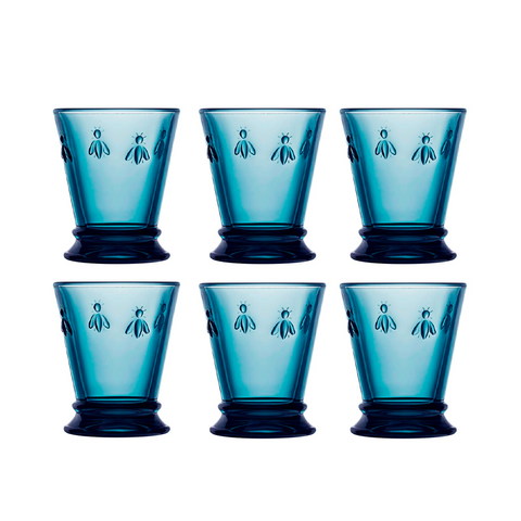 Set 6 Vaso 270ml Azul ABEJA