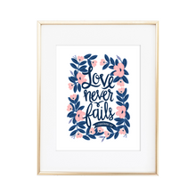 Load image into Gallery viewer, Love Never Fails 1 Corinthians 13:8 Print