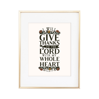 Give Thanks to the Lord - Psalm 9:1 Print