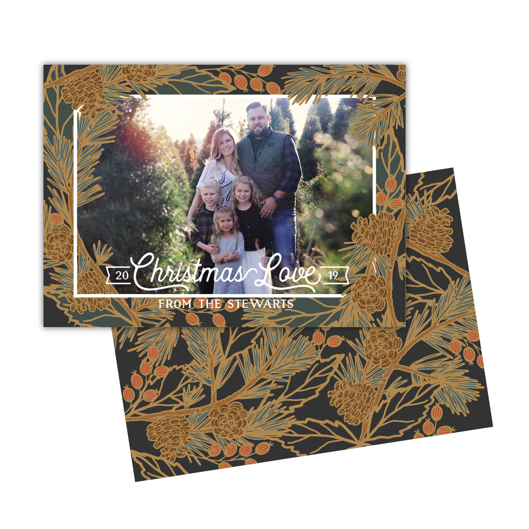 Holiday Pine Greeting Card Printable - Charcoal