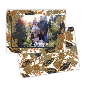 Holiday Pine Greeting Card Printable - White