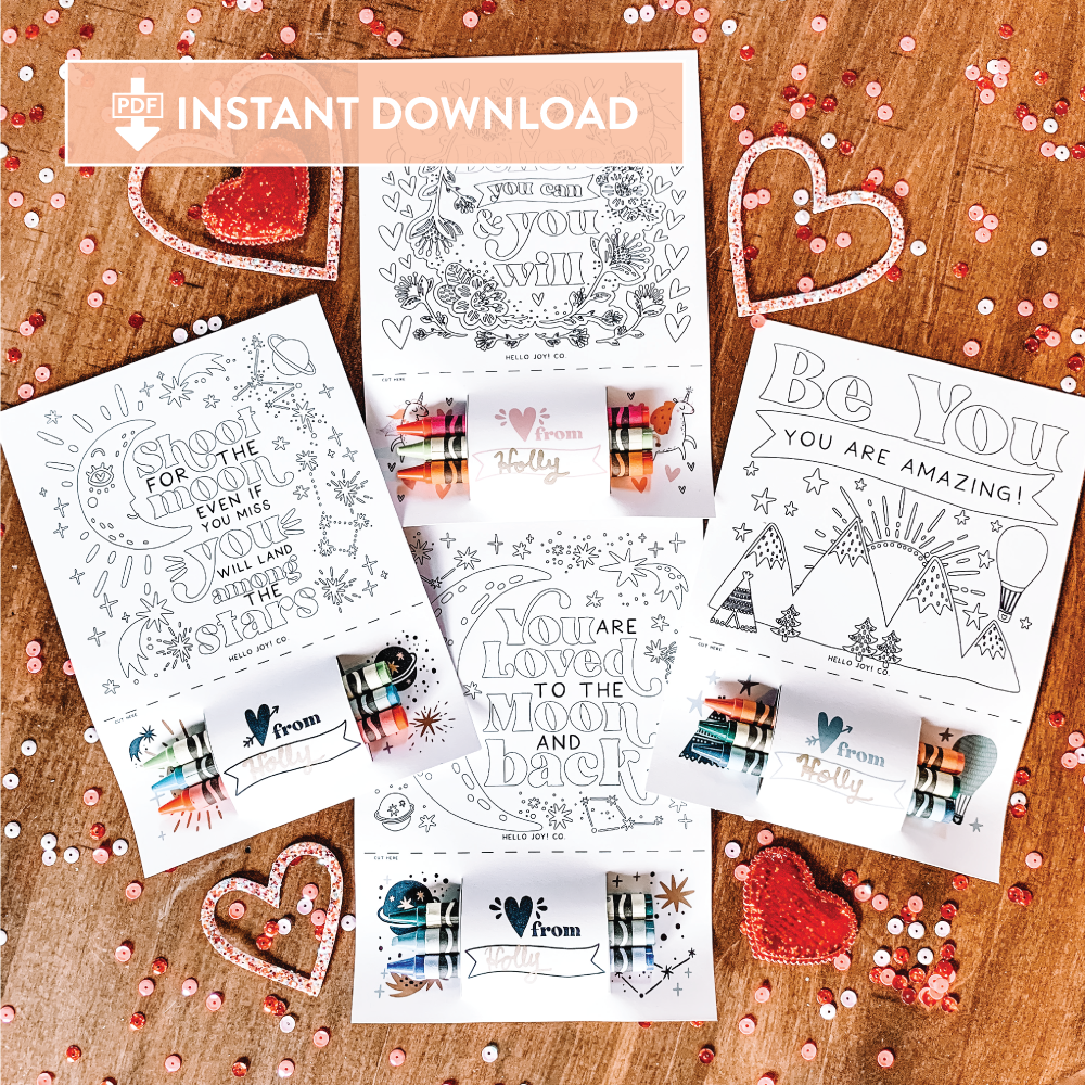 Encouraging Coloring Cards - Instant Download