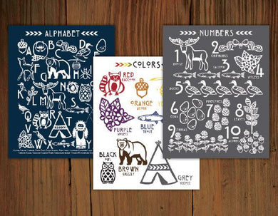 Woodland Alphabet, Color & Number Poster Prints (8