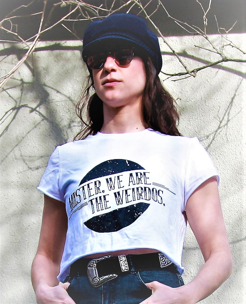 Mister, We Are the Weirdos White Crop Top