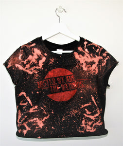 Mister, We Are the Weirdos Distressed Crop Top with Vintage Red Logo