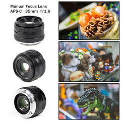 35mm F/1.6 Large Aperture HD MC Manual Prime Fixed Lens APS-C - Pixco - Provide Professional Photographic Equipment Accessories