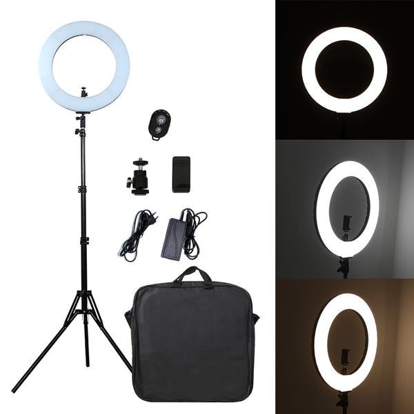 Pixco 18'' LED Ring Light 60W 3200K-6000K 480pcs Bulbs With Remote Stand Kit