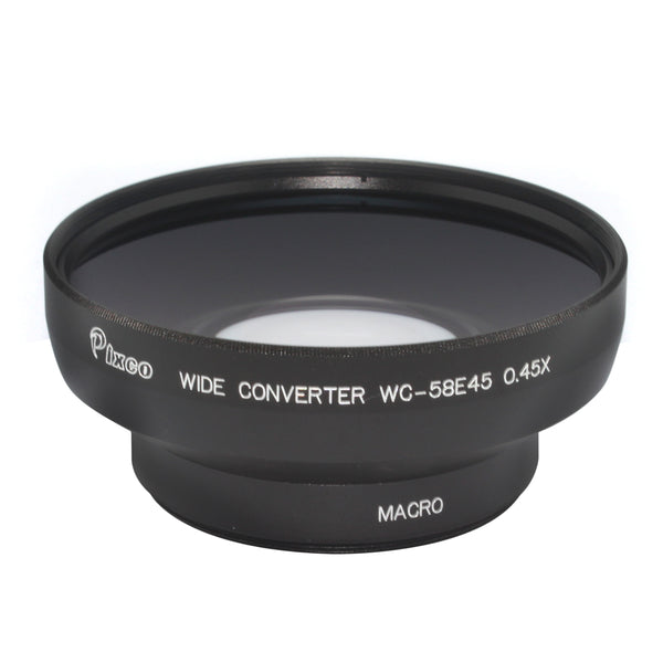 Professional 0.45X Wide Angle Lens with Macro Black For Canon Nikon Sony - Pixco - Provide Professional Photographic Equipment Accessories