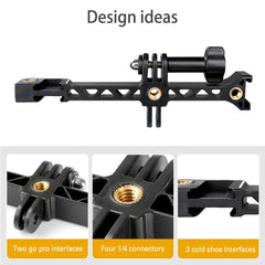 Multifunction Cold Shoe Bracket Extension Bar Hot Shoe Extension with 1/4'' Tripod Screw for Osmo Pocket Action Gopro - Pixco