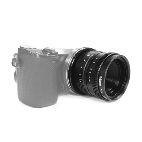 Pixco 35mm F1.6 APS-C Television TV CCTV Lens For 16mm C Mount Camera (Black) - Pixco