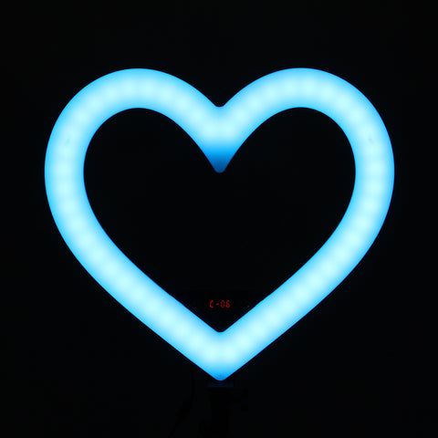 Pixco RL-290 19'' Colorful Heart-Shaped LED Ring Light Photography 48W 3200K-6000K 290pcs Bulbs With Remote Stand Kit - Pixco