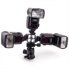 Triple Hot Shoe Mount Adapter Flash Light Stand - Pixco