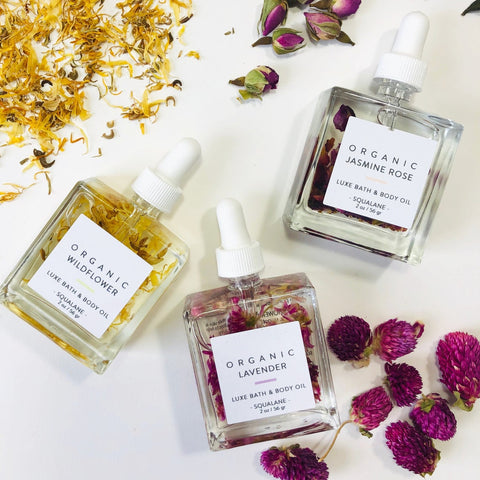 Private Label Jasmine Rose Infused Face Oil Bath And Body Oil with Flower Petals, Vegan + Cruelty free MOON X COSMETICS ROSE OIL, WHOLESALE VENDOR ROSE  GALORE, PURIFY, rejuvenating OIL