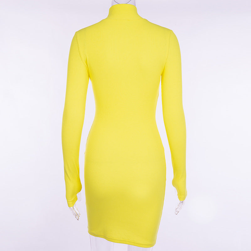 30 Set's) Solid Color Turtleneck Long Sleeve Body-con Dress