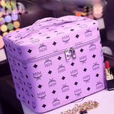 30 Set's) Letter Print Double Layer Large Capacity Zipper Cosmetic Case