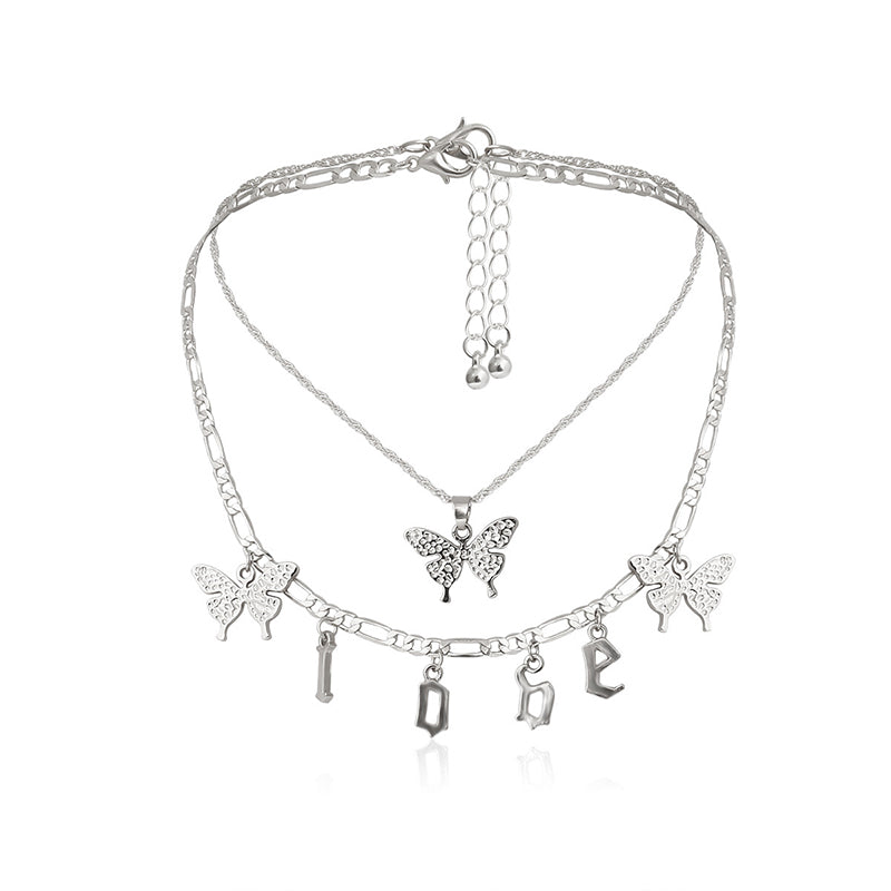 30 Set's) Temperament Butterfly LOVE Letter Decor Necklace