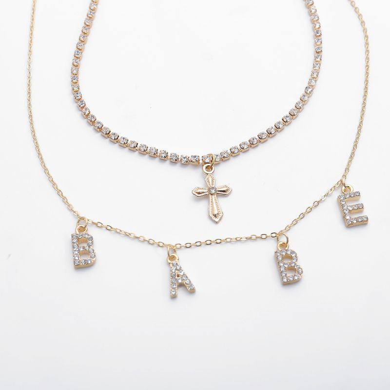 Wholesale Cross Letter Rhinestone Decor Women Multilayer Necklace